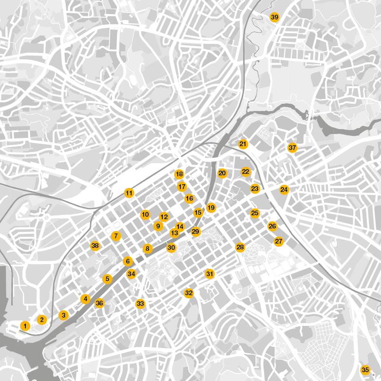 Föllärien asemapaikat kartalla neliö