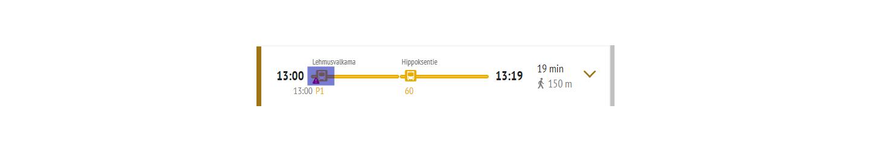 Poikkeusinfo-symboli näkyy reittiehdotus-rivillä linjan numeron yhteydessä.