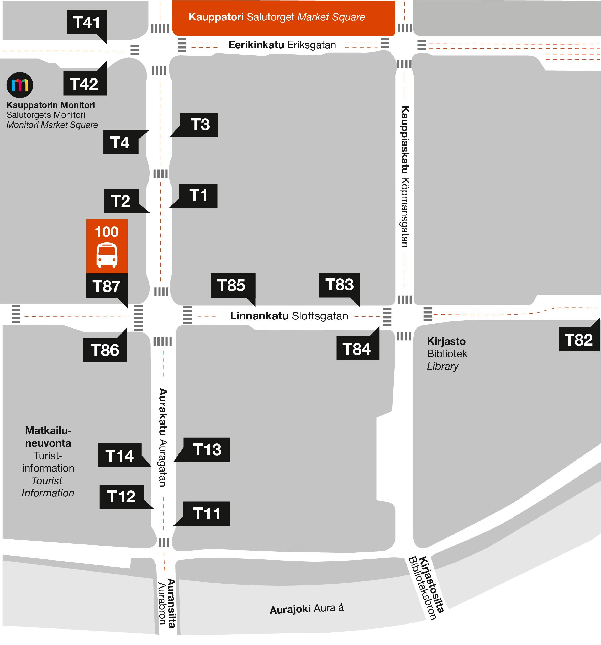Linjan 100 lähtöpysäkki sijaitsee Linnankadulla, kaupungintalon puistoa vastapäätä.